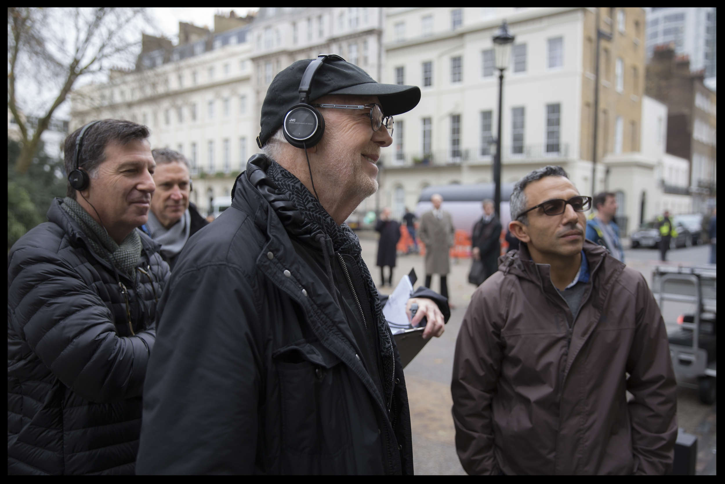 (l to r) Producer  Gary Foster , Director  Mick Jackson  and Director of Photography  Haris Zambarloukos  review a take on the set of their film   DENIAL  , a  Bleecker Street  release.  Credit:  Laurie Sparham  / Bleecker Street