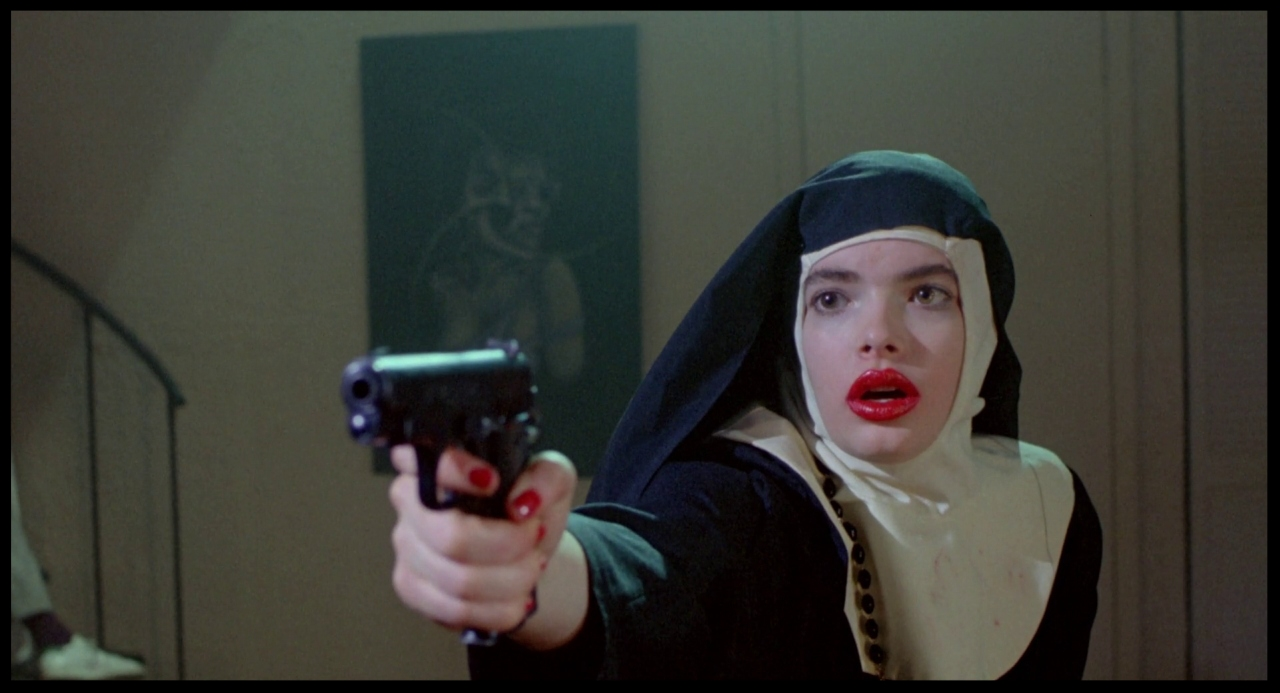 More symbolism: Thana in a nun's costume.