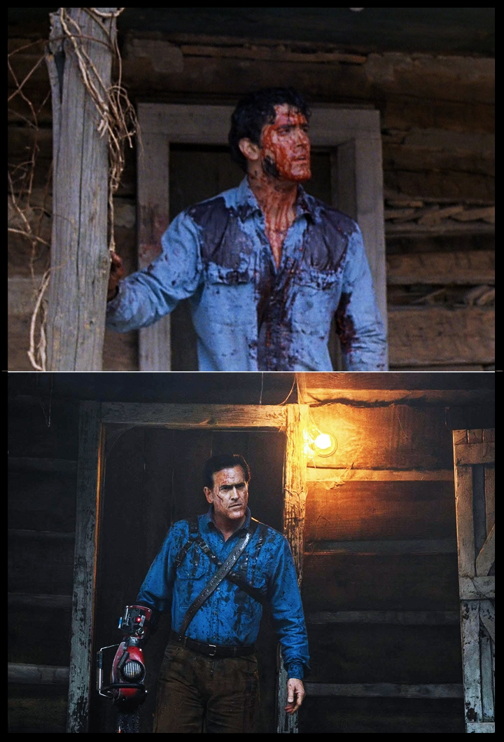 The more things change, the more they stay the same...  Bruce Campbell  as Ashley J Williams, now and then.
