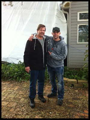 John Fallon with star  Michael Paré behind the scenes.