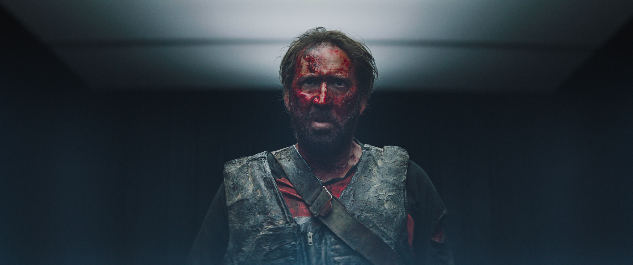 """Nicolas Cage  as Red in the action, thriller film  """"MANDY""""  an   RLJE Films   release. Photo courtesy of  RLJE Films."""