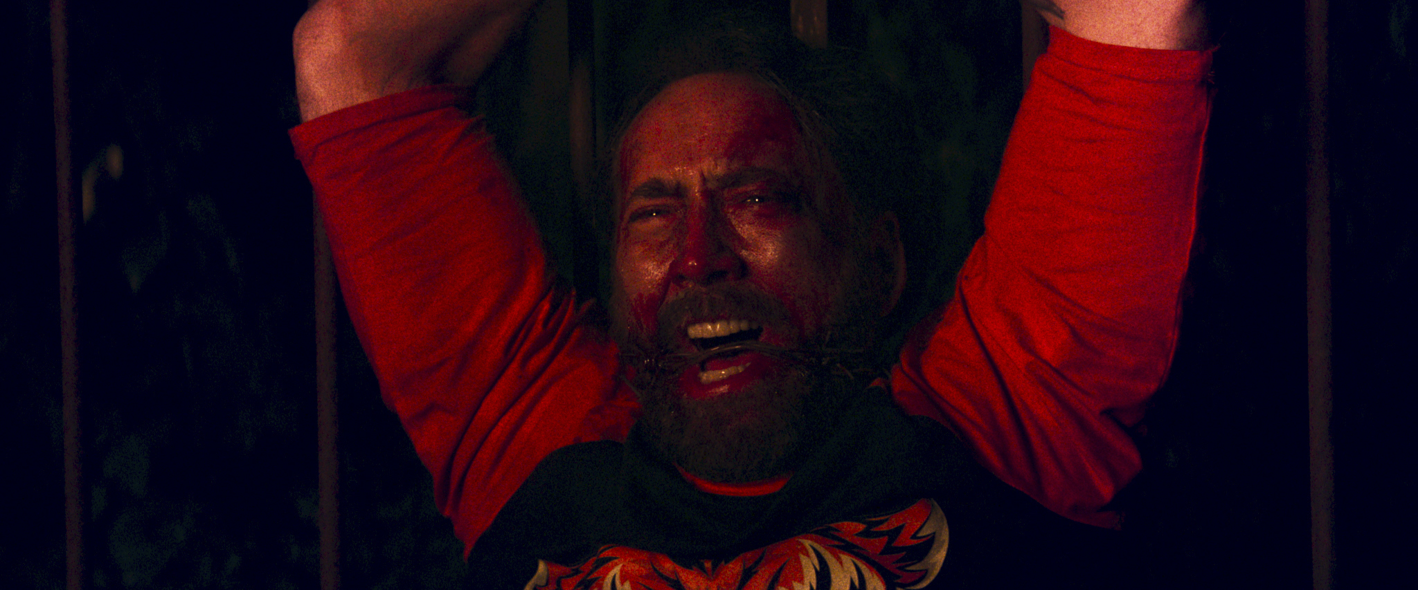 """Nicolas Cage  as Red in the action, thriller film  """" MANDY """"  an RLJE Films release. Photo courtesy of  RLJE Films ."""