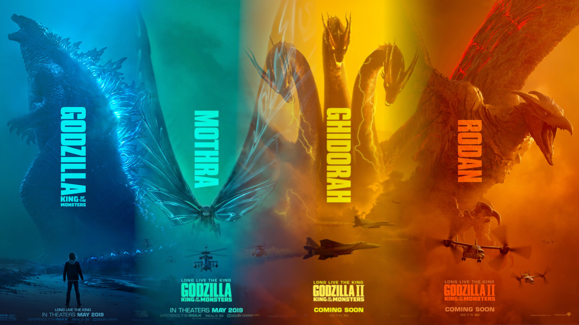 Godzilla King of the Monsters four posters