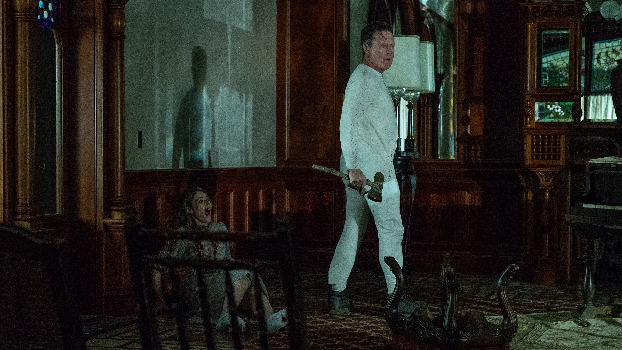(L-R)  Amanda Crew  as Olive and  Robert Patrick  as Harvey in the horror / thriller   TONE-DEAF  . Photo courtesy of  Saban Films .