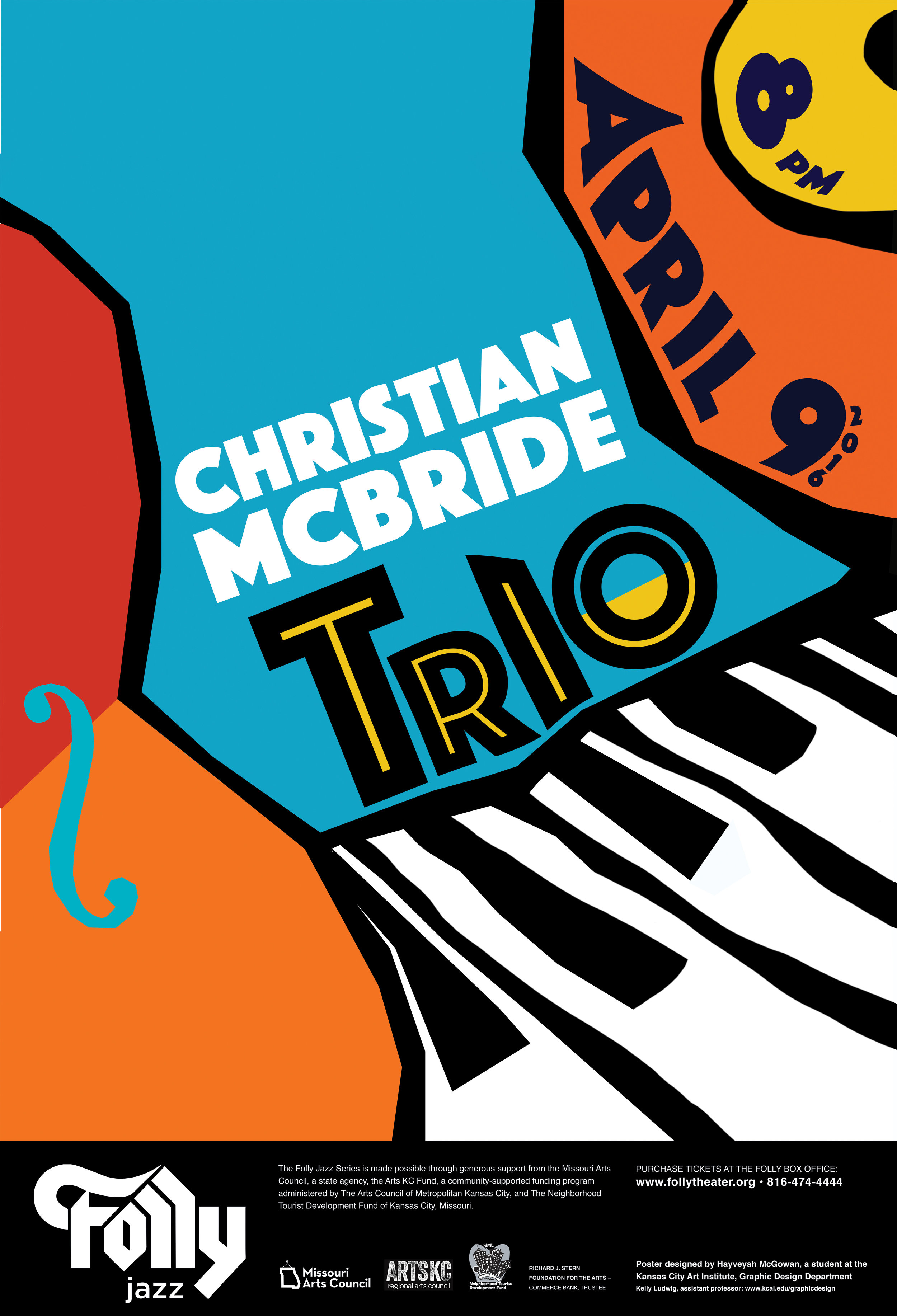 Official poster  Christian McBride Trio  for the 2016 Folly Jazz Series