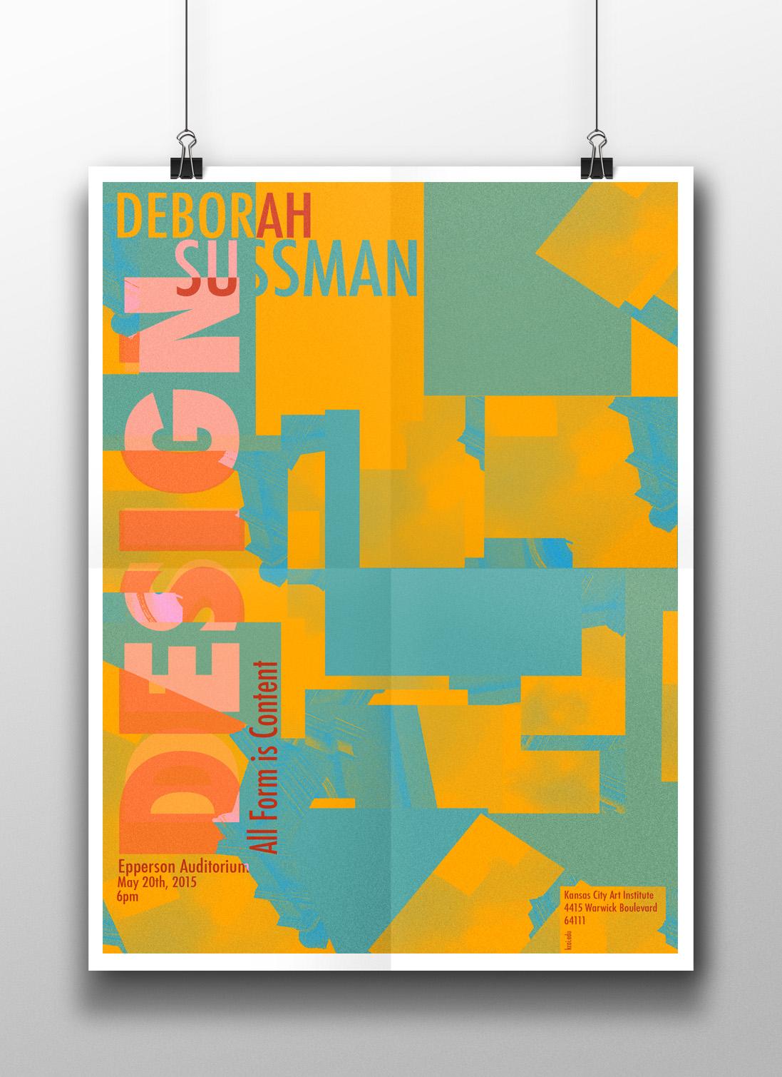 "Deborah Sussman poster design for the ""2015 KCAI speaker series"""