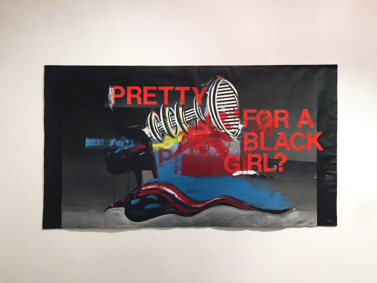 "Anti-Pro Exhibition     ""Pretty for a Black Girl?"" deals with the ideas and information that many black women receive starting from a young age. Living in a society that champions European ideals of beauty it can be difficult for a young black girl to navigate thru her own identity when it is not shown in a positive light. This difficulty is represented within the abrasive textures, patterns, and aggressive application of paint. The weight of these ideals loom over her and sit upon her shoulders yet she still floats, chin high, strong."