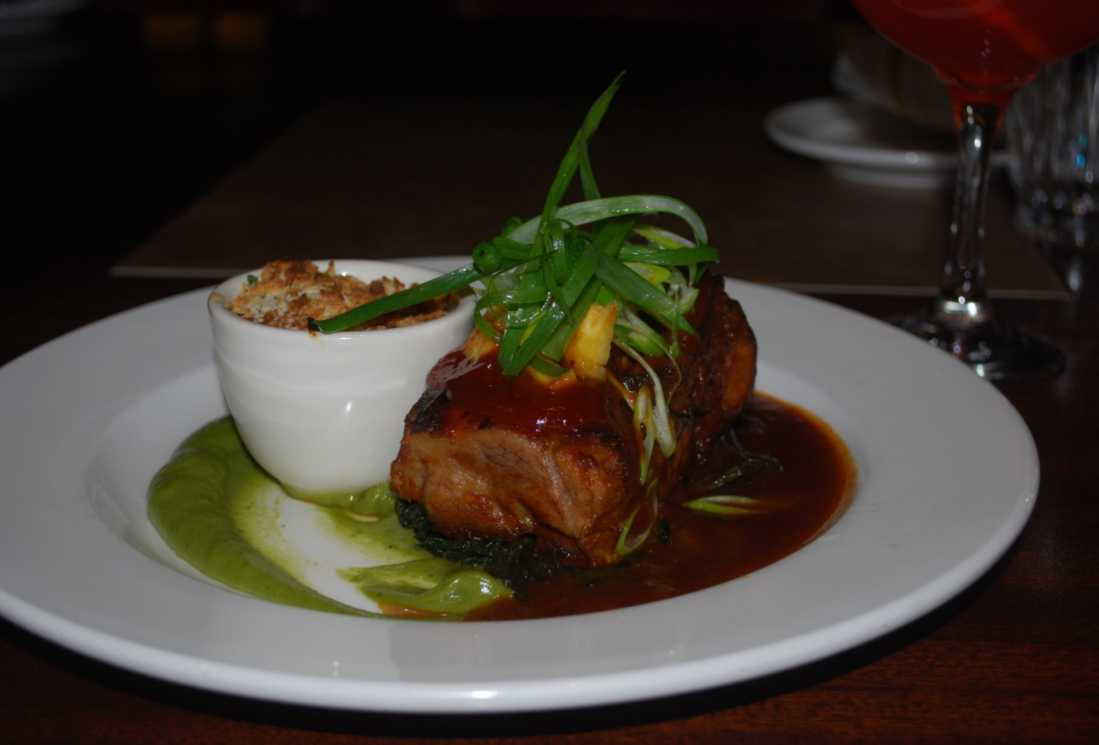 BBQ Pork Short Ribs  - Baked Beans, Smoked Bacon, Braised Greens, Garlicky Scallion Jus