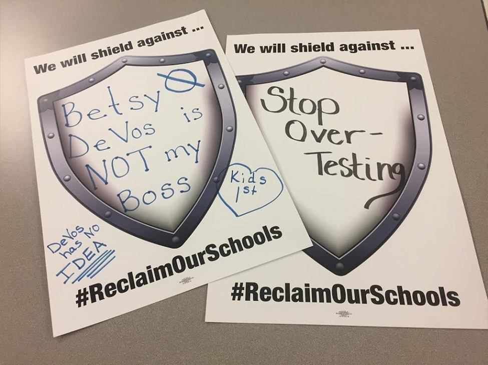 Here are some examples of the shields that the GTA members created showing what they stand up for daily for local public schools and students! (photo provided)