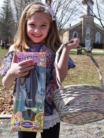 Alaynna Salter, 6, holding up the chocolate bunny she won at the Oxbow Easter Egg Hunt. (Jessyca Cardinell photos)