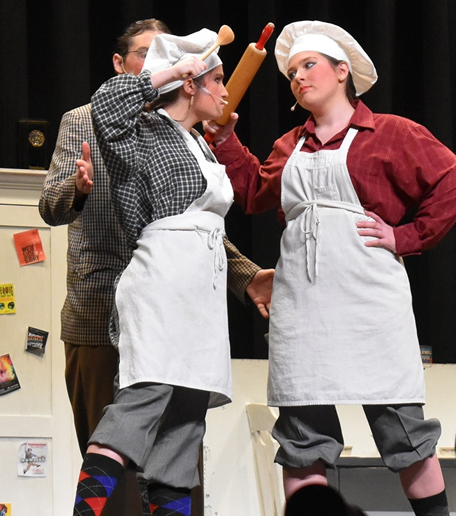 Alexis Simmons and Jaelyn Stevens as the gangsters keep the crowd in stitches with their hilarious comedy during the Drowsy Chaperone production. (photo by Jessyca Cardinell)