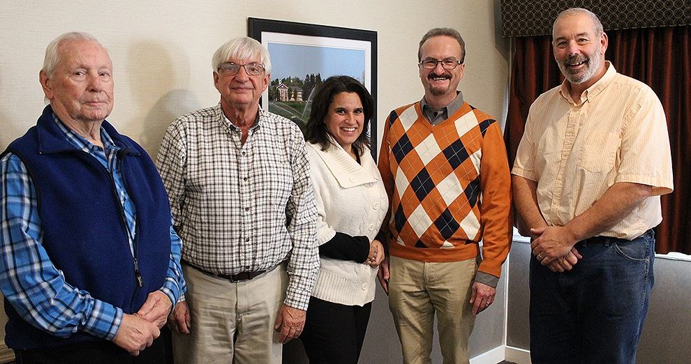 St. Lawrence NYSARC 2018 Community Spirit Award Winner Casey Canell of Gouverneur and his wife, Stacy Canell, surrounded by Town of Gouverneur Deputy Supervisor Eldon Conklin (far left), Village of Gouverneur Mayor Ron McDougall, and Town of Gouverneur Supervisor Dave Spilman, Jr. (far right) after the awards ceremony on Oct. 18. (Rachel Hunter photo)