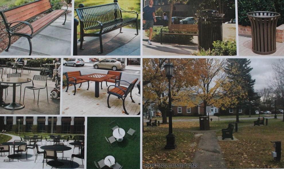The existing conditions and proposed options for improvement of site furnishings in the Gouverneur Village park.