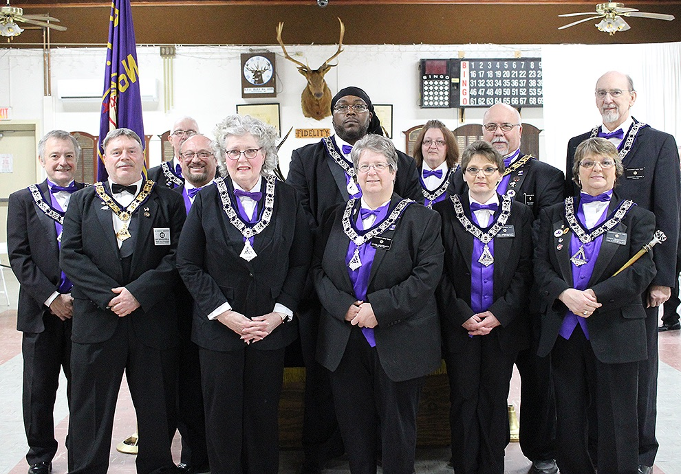 Gouverneur Elks Lodge No. 2035 installs new slate of officers on Sunday, April 7. Front (from left): State Vice President (North Central District) Brian Dezell, Esteemed Lecturing Knight Sheila Ogborne, Inner Guard Linda Westcott, Esteemed Loyal Knight Tina Vanderbogart, Esquire Krista Wainwright. Second row: Secretary Jimmy Jackson (PDDGER, PSVP, PER), Past Exalted Ruler Roderick Pryce, Esteemed Leading Knight Gresford Speid, Exalted Ruler Randy Durham, Chaplain Frederick Ogborne II, Back Row: Treasurer Garnet Weaver and Tiler Lisa Durham. (Rachel Hunter photo)