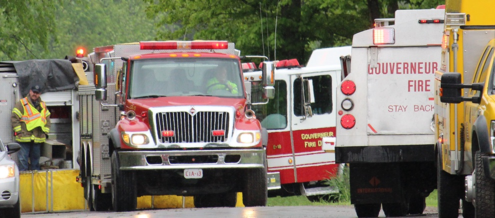 Gouverneur Fire Department trucks on the fire scene.