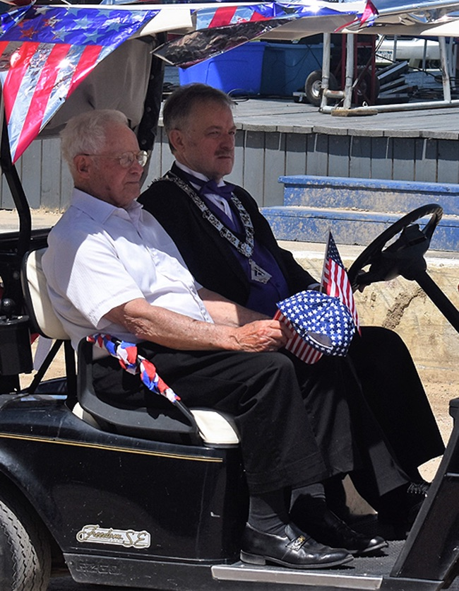 Gouverneur Elks Lodge No. 2035 Charter Member Robert Fuller of Fowler featured in the 2019 Gouverneur Flag Day Parade, driven by Gouverneur Elks Lodge Secretary Jimmy Jackson, PDDGER. (photo by Jessyca Cardinell)