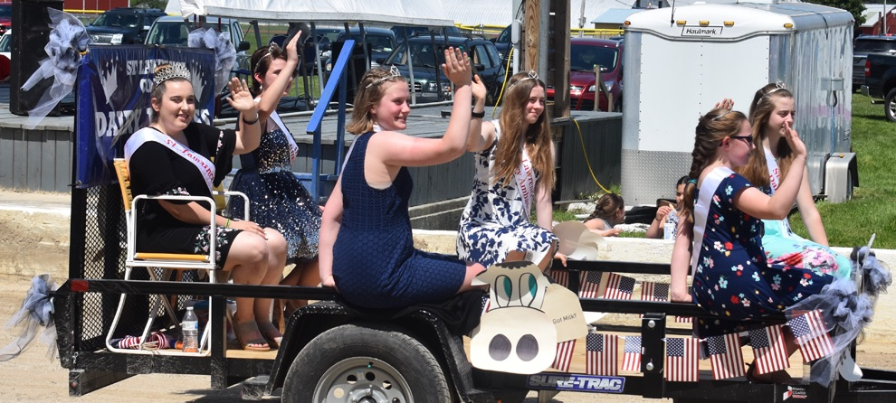 St. Lawrence County Dairy Princess Chloe Renaud of Gouverneur (back left) and her court in the 2019 Gouverneur Flag Day Parade on Sunday, June 9 at the Gouverneur and St. Lawrence County Fairgrounds. (photo by Jesyca Cardinell)