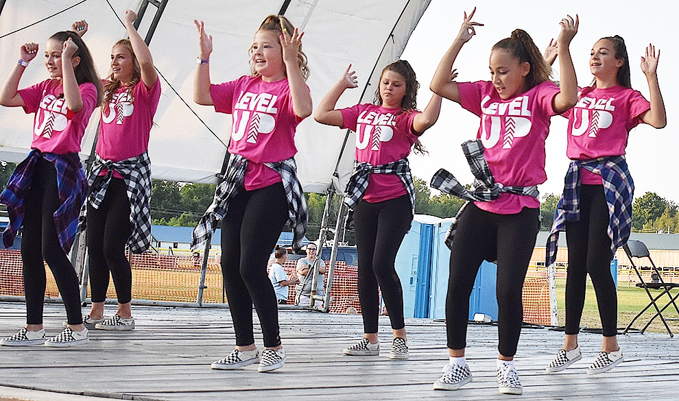 Level Up dance group taught by Nicole Kendall of Ogdensburg gives an amazing upbeat hip hop performance at this year's Talent Show held at the Gouverneur & St. Lawrence County Fair. (photo by Jessyca Cardinell)