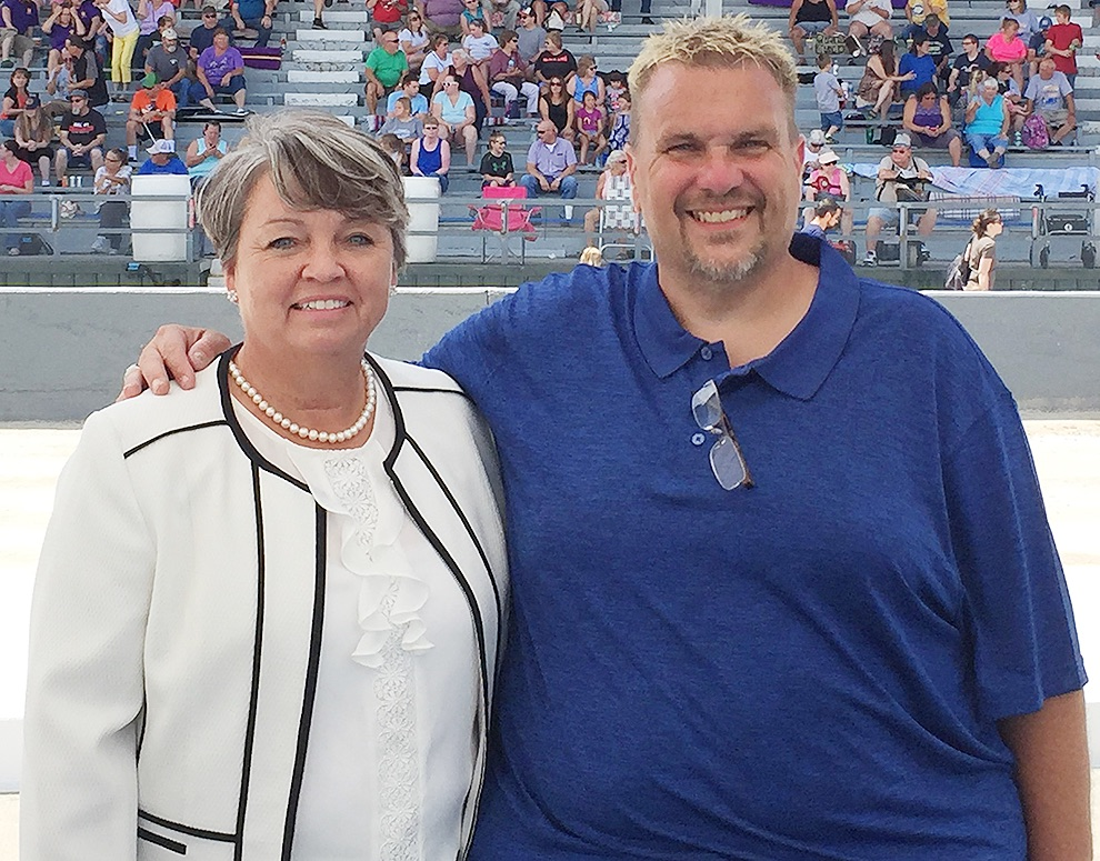 NYS Senator Patty Ritchie pictured with Organizer Sean Peck at the 2019 Gouverneur and St. Lawrence County Fair Carlton Peck Band Day. Sean is the son of Carlton Peck of Gouverneur, the founder of the Peck Awards which were started 55 years ago this year. (photo provided)