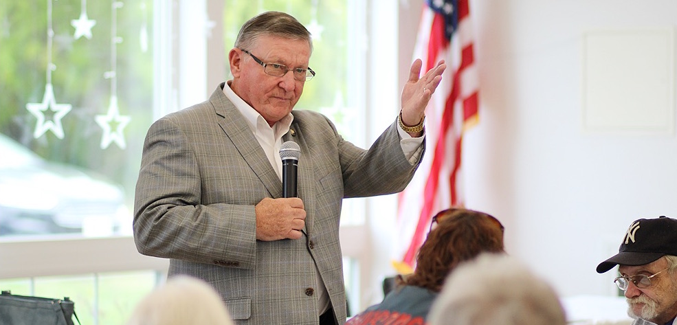 Assemblyman Ken Blankenbush (R,C,I-Black River) speaking to the Gouverneur Senior Citizens Club on Tuesday, September 10 at the Gouverneur Community Center. (Rachel Hunter photo)