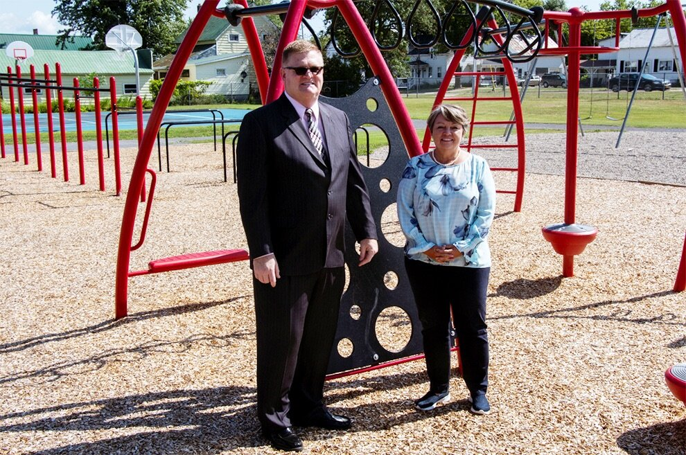 Senator Patty Ritchie (right) pictured visiting the Hammond Central School District Playground with District Superintendent Douglas McQueer (left)