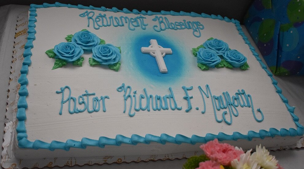 The gorgeous cake that was devoured by the guests of the luncheon celebrating Pastor Richard Mayforth's 10 years of pastoral services at the First Presbyterian Church in Gouverneur. (photo by Jessyca Cardinell)