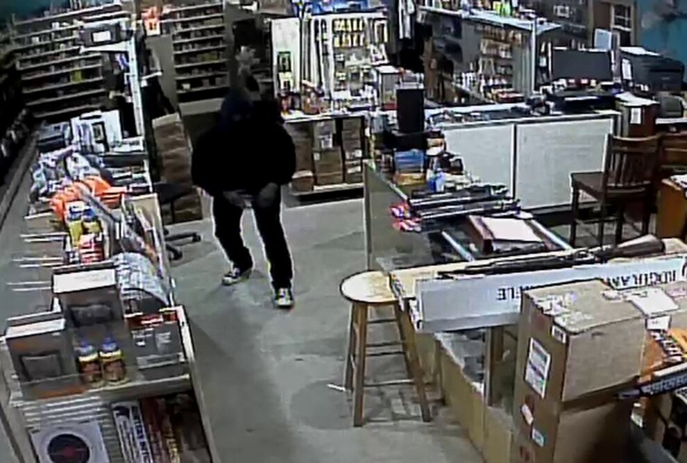 Security camera footage from Bowman's Gun Shop during the robbery. (photo provided)