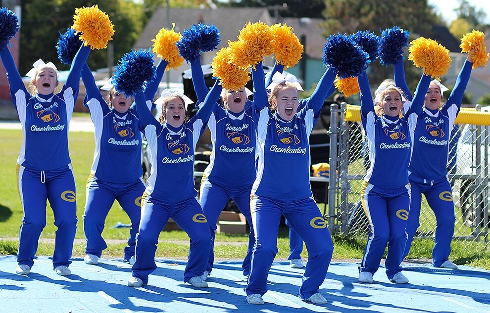 Gouverneur Wildcats Varsity Football Cheer Team as they amp up the crowd just moments before the Gouverneur Varsity Football Team took to the Frank LaFalce Field for the game last Saturday against the Potsdam Sandstoners. (Rachel Hunter photo)