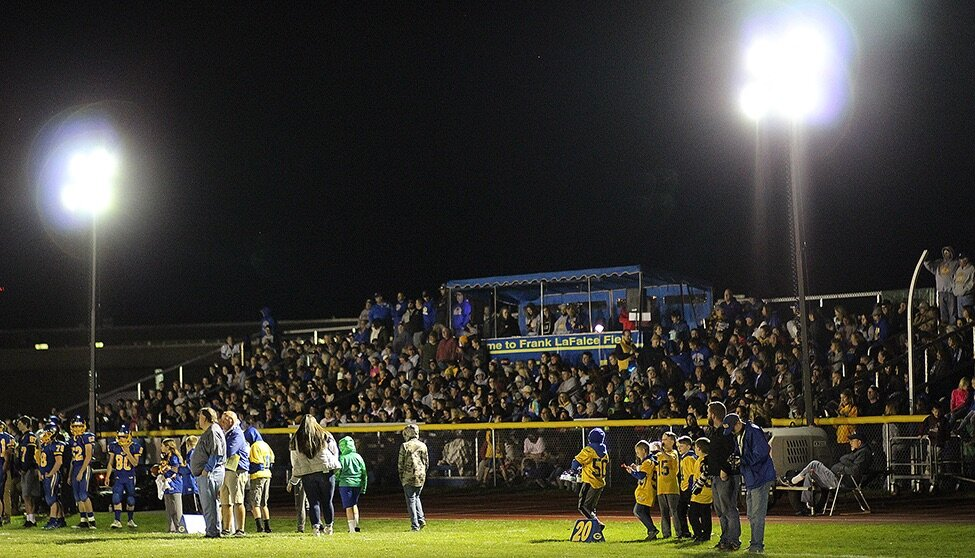 A record-breaking crowd watched the Gouverneur Wildcats claw their way through the Massena Red Raiders on Friday, October 11. This was the first game in Gouverneur history to be held under the lights on the Frank LaFalce Field, and the local fan base turned out to support the Wildcats and see the historic game. The Wildcats won the game, 54-0. (Rachel Hunter photo)