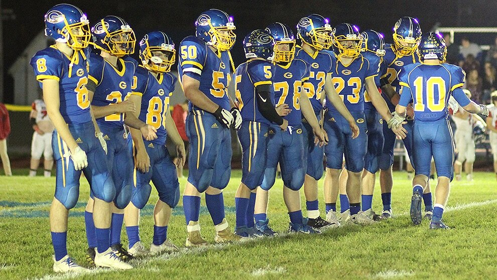 Gouverneur Wildcat Varsity Football seniors recognized under the lights on the Frank LaFalce Field last Friday, October 11. Pictured (not in order): WR/LB Mitchell Shippee, RB/LB Mitchell Tyler, QB/DB Caleb Farr, RB/DB David Baker, RB/DB Cayden Stowell, TE/DE Riley Simmons, DB Jacob Corcoran, FB/LB Jacob Shippee, OL/DL Nicholas Embry, OL/DL Logan Phillips, OL/DL Tyler Tupper, OL/DL Xavier Hall, DB Dean Crook. (Rachel Hunter photo)