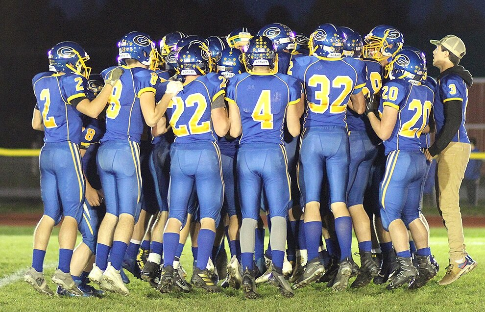 Gouverneur Wildcats getting pumped up before playing under the lights on the Frank LaFalce Field last Friday, October 11. (Rachel Hunter photo)