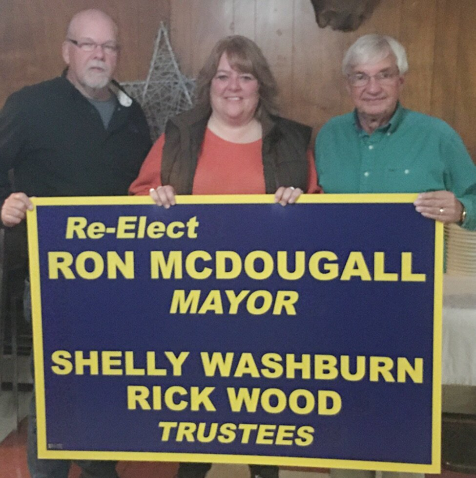 Village of Gouverneur Mayor Ron McDougall (right) stands with Village of Gouverneur Trustees (from left) Rick Wood and Shelly Simons-Washburn at the campaign watch party, held at the Casablanca Restaurant in Gouverneur on Tuesday, November 5. All sought re-election to their current elected seats. (photo provided)