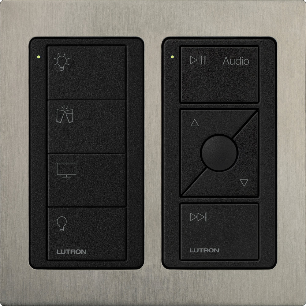 lutron pico double keypad, which sits into a standard single uk back box with the stainless steel surround. a scene keypad and audio keypad controls lights and audio.
