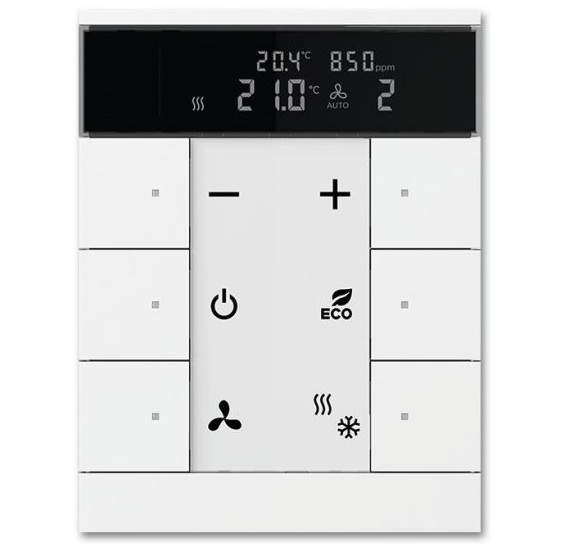 ABB RTC with CO2/Humidity Sensor and control element 6-fold with integrated KNX bus coupler and labelling field. control heating, cooling, and ventilation.