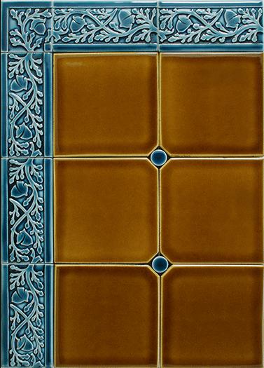 """Acorn Border 6"""" x 3"""" blue  glaze"""