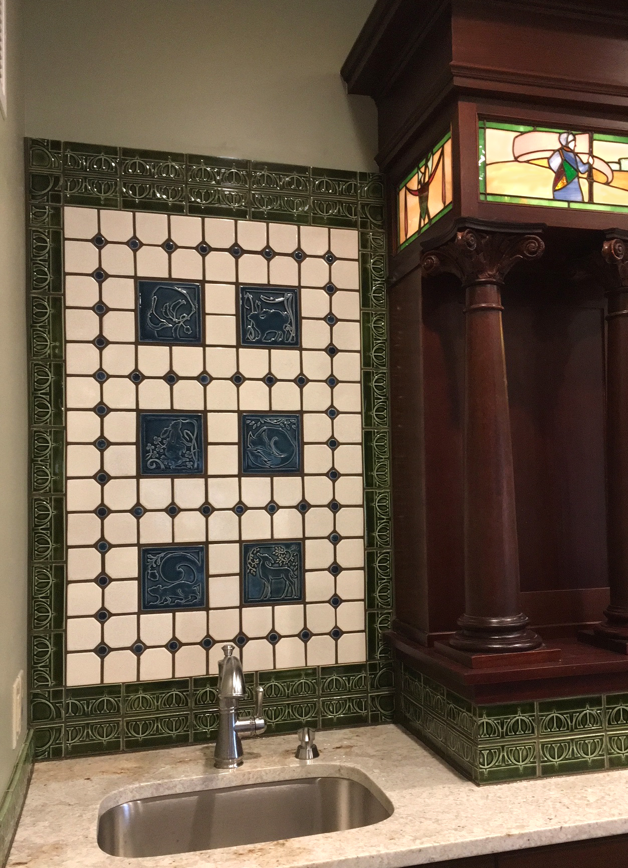 New Glarus tiled bar back