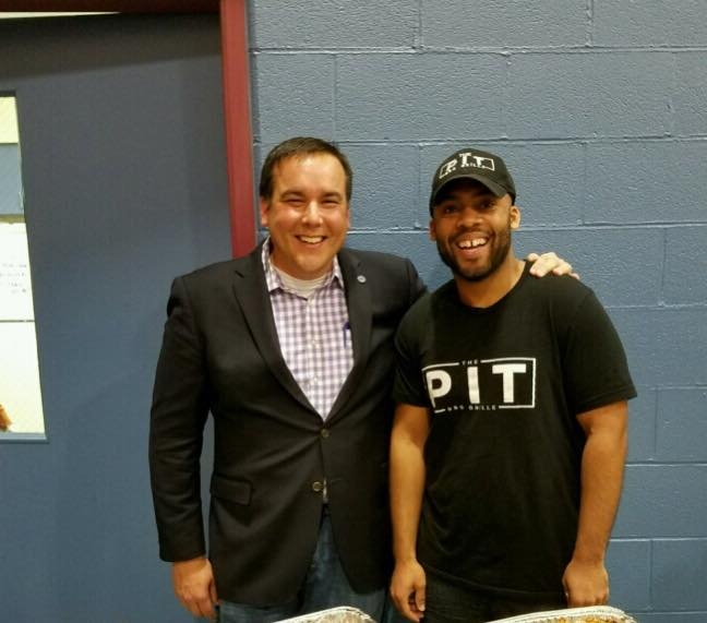 One of our owners, Mike Johnson (right), is pictured above with Columbus, OH mayor, Andrew Ginther, (left) during Linden Neighborhood Design Kickoff event.