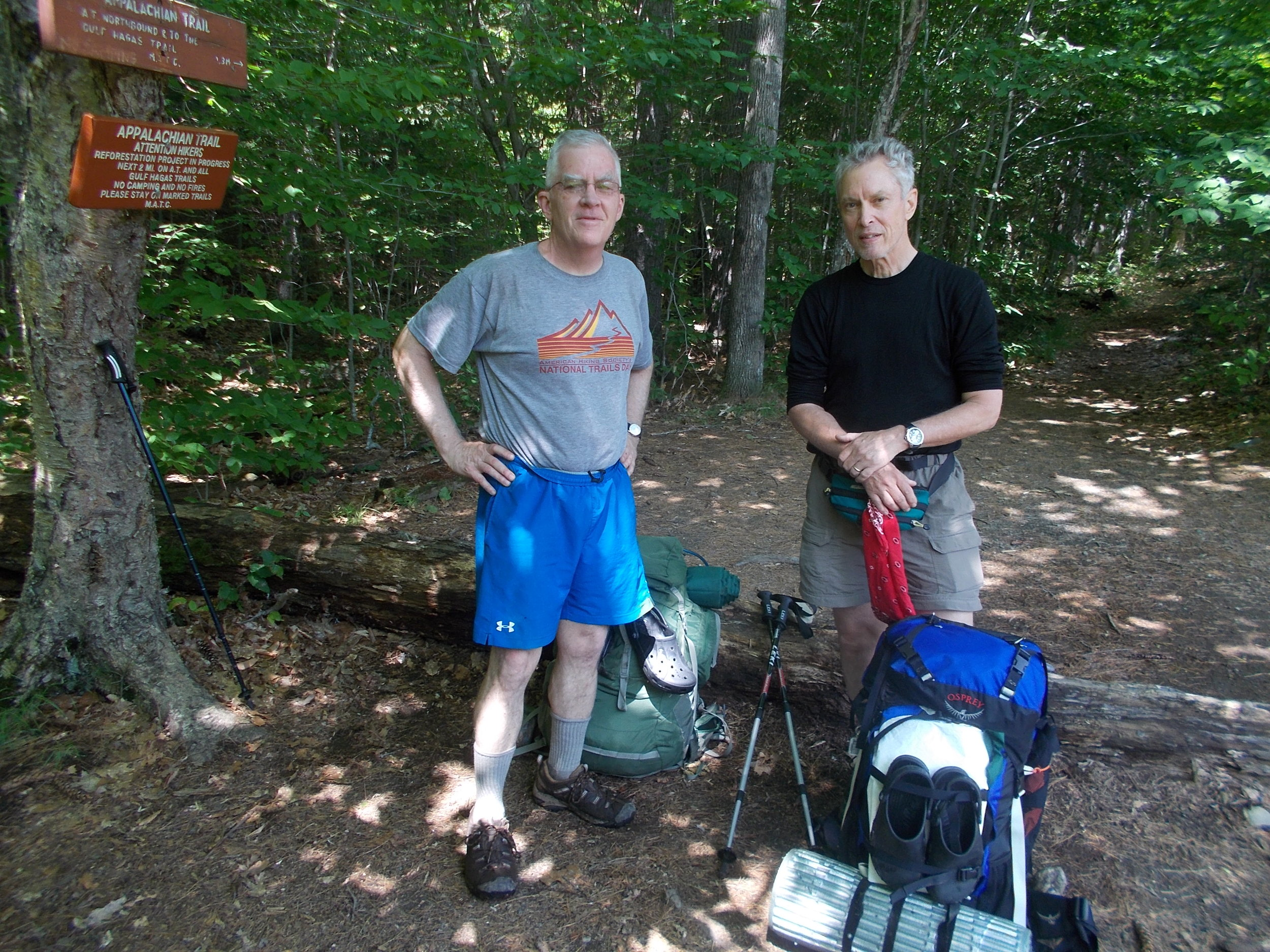 Don and fellow hiker, Ted Gregory, ready to take up the challenge of the 100-Mile Wilderness portion of the Appalachian Trail near Monson, Maine.