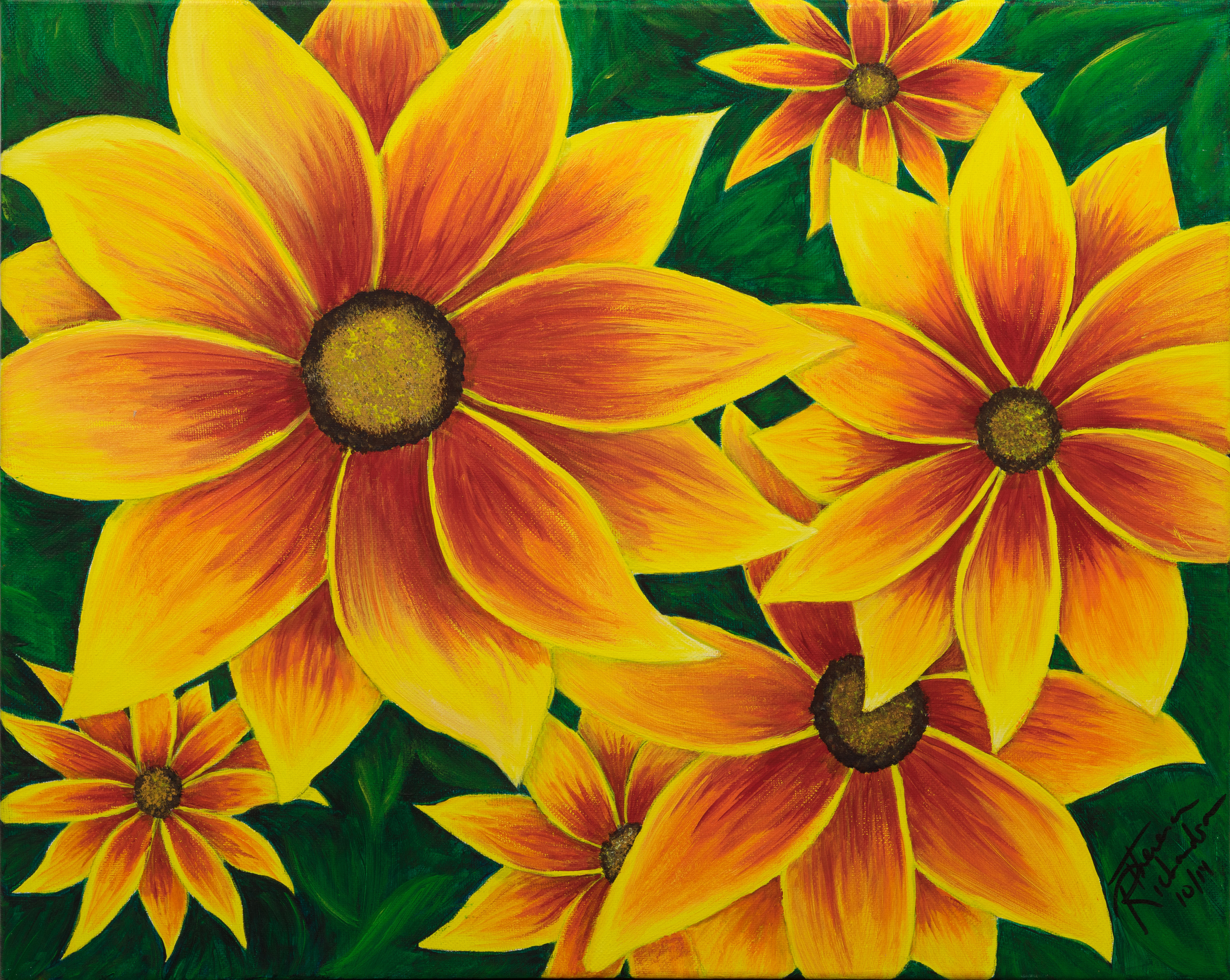 Sunflowers   , 2014, acrylic on canvas, 16 x 20 inches