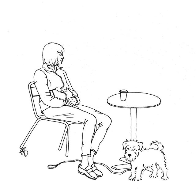 #coffeebreak • • • • • #schnauzer #mutt #terrier #dog #dogportrait #dogs #dogsofinstagram #woof #drawing #sketch #sketchbook #dailysketch #doodle #sketchaday #artofinstagram #art #penandink #blackandwhite #coffee #coffeedate #schnauzersofinstagram #muttsofinstagram