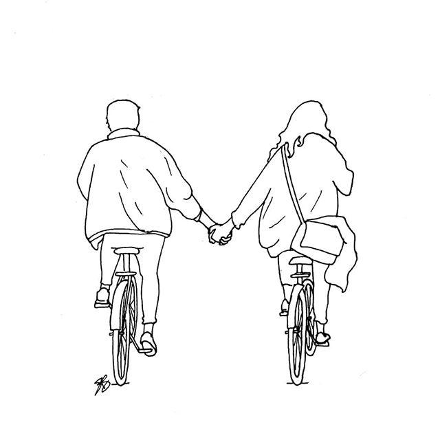 Seen in Amsterdam ❤ • • • • • #drawing #sketching #sketch #sketchaday #dailysketch #penandink #amsterdam #holland #netherlands #dutch #bike #bicycle #fiets #iamsterdam #amsterdam #thenetherlands #holdinghands #blackandwhite