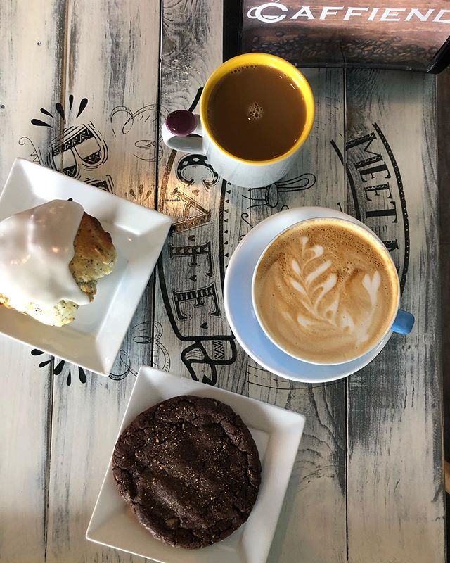 Sunday morning coffee at @caffiendcoffeeinc Serving up delicious @roasticoffeeco and fresh made treats. We had the lemon poppyseed muffin and the cocoa walnut coconut cookie. Definitely worth the drive #yegcoffee #yegfoodie #eatyeg #eatventure