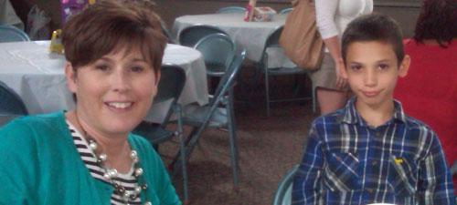Having fun at the mentor banquet, May 2014