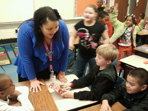 Students at Washington Street Elementary School use puzzles to develop classroom skills