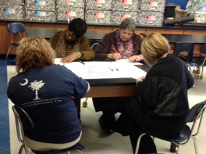 Staff from four Hartsville elementary schools piloting the Comer School Development Process learn about the pathways