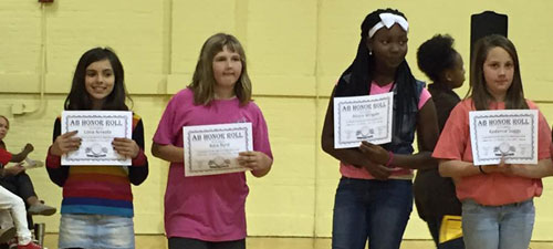 Some  of the AB honor roll recipients at Thornwell School for the Arts