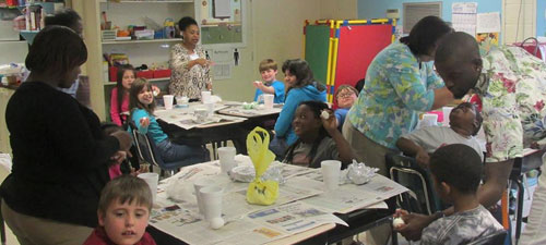 West Hartsville Elementary students dye Easter eggs