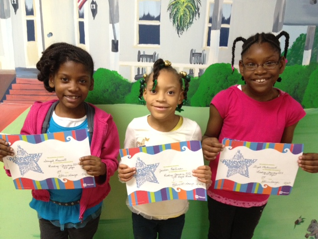 Roadrunners Reading Program at Washington Street Elementary: January winners are 1st grader Jordan Hollimon (center), 2nd grader Saniyah Prescott (left) 3rd grader Aliyah Muhammad (right)