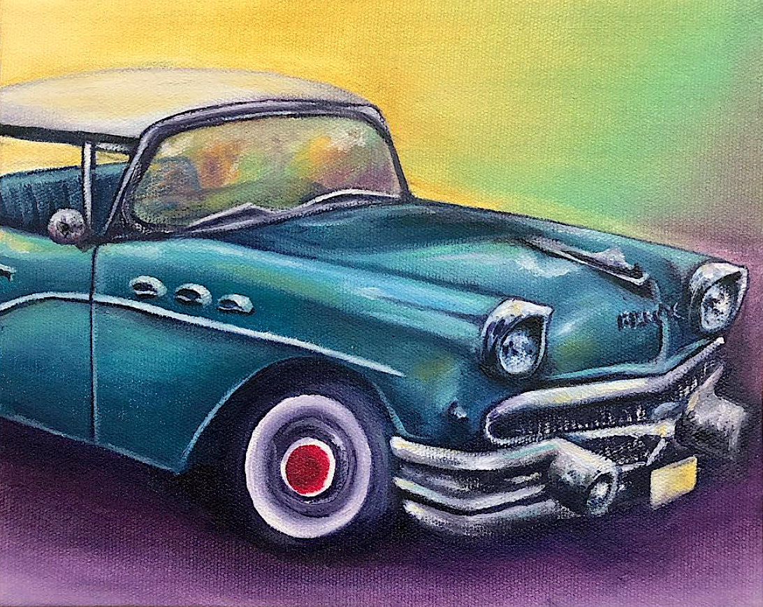 "Bertha the Buick  6x8""  oil on canvas"