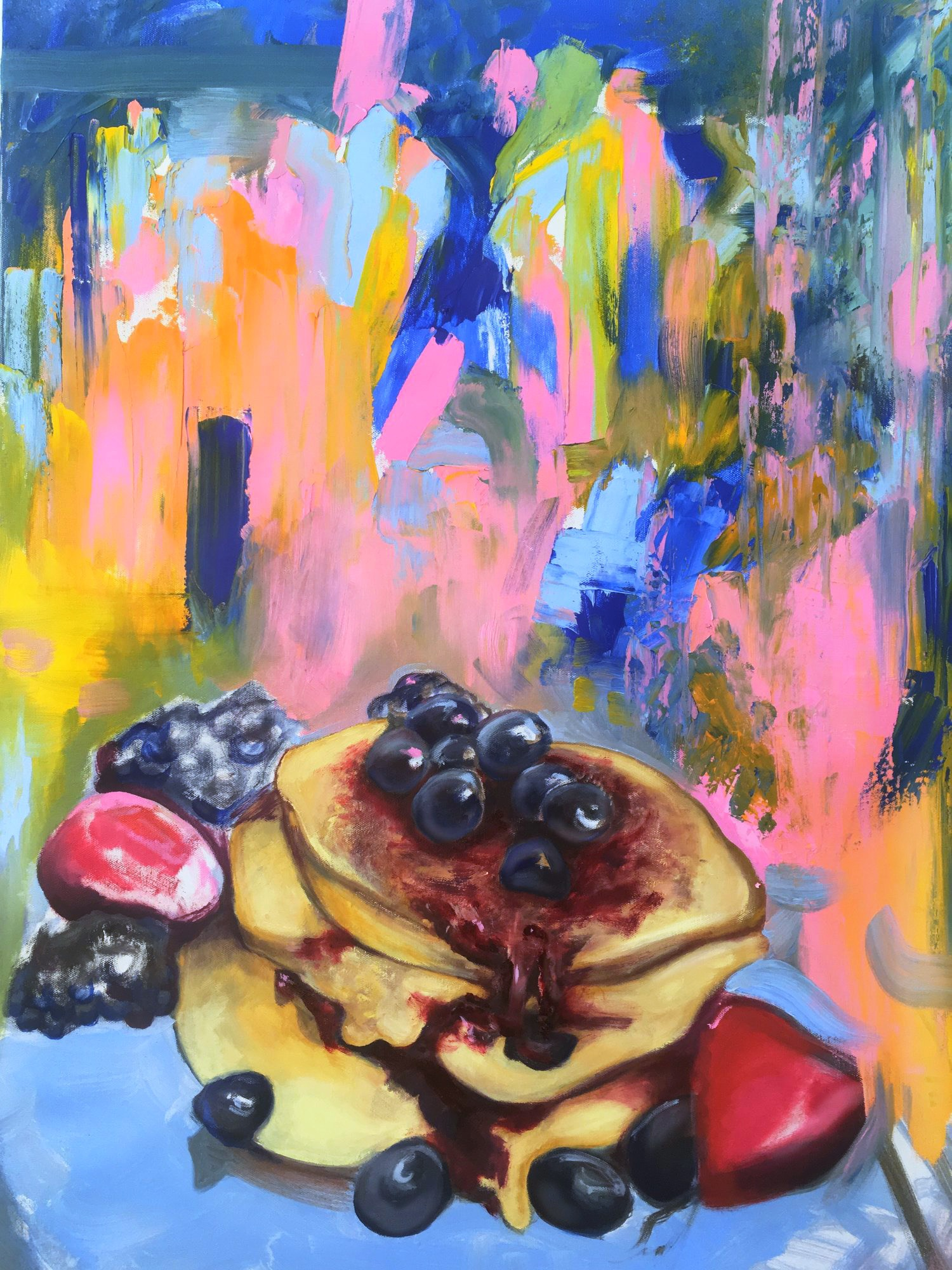 "BANANA WAFFLES  36x24""  oil on canvas"